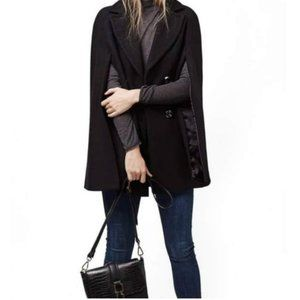 Topshop Black Wool Double-Breasted Cape Small